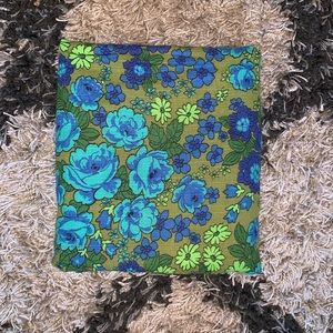Vintage Floral Print Fabric in Blue, Green, Teal